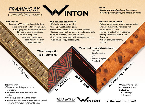 Framing By Winton Company Sales Brochure–Inner Spread